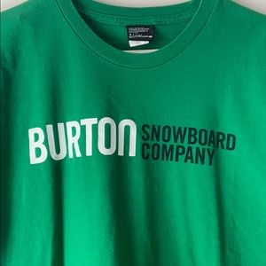 Burton green tee with logo on front